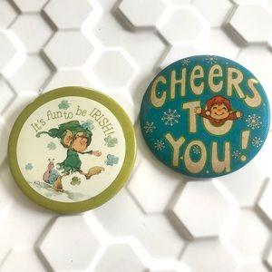 Vintage 70's 80's Irish elf gnomes buttons pins